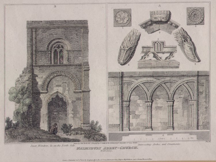 Print - Malmsbury Abbey-Church. Door, Window etc on North Side. Interesting Arches and Ornaments - Roffe