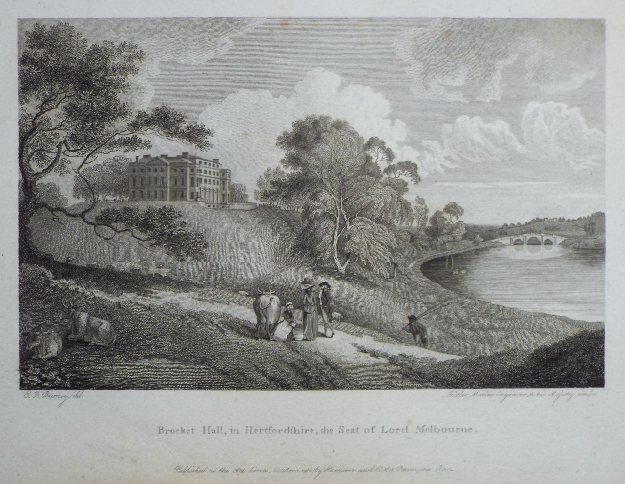 Print - Brocket Hall, in Hertfordshire, the Seat of Lord Melbourne. -