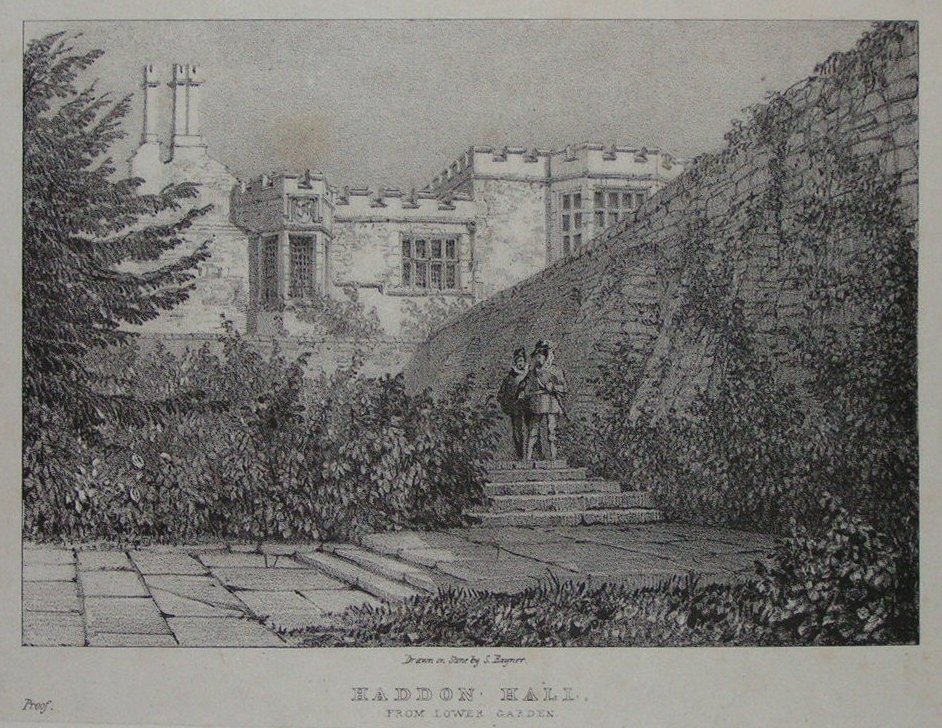 Lithograph - Haddon Hall From Lower Garden -
