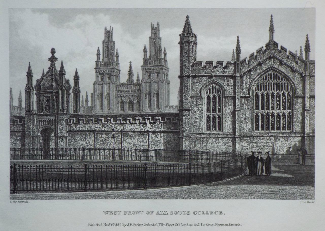 Print - West Front of All Souls College. - Le