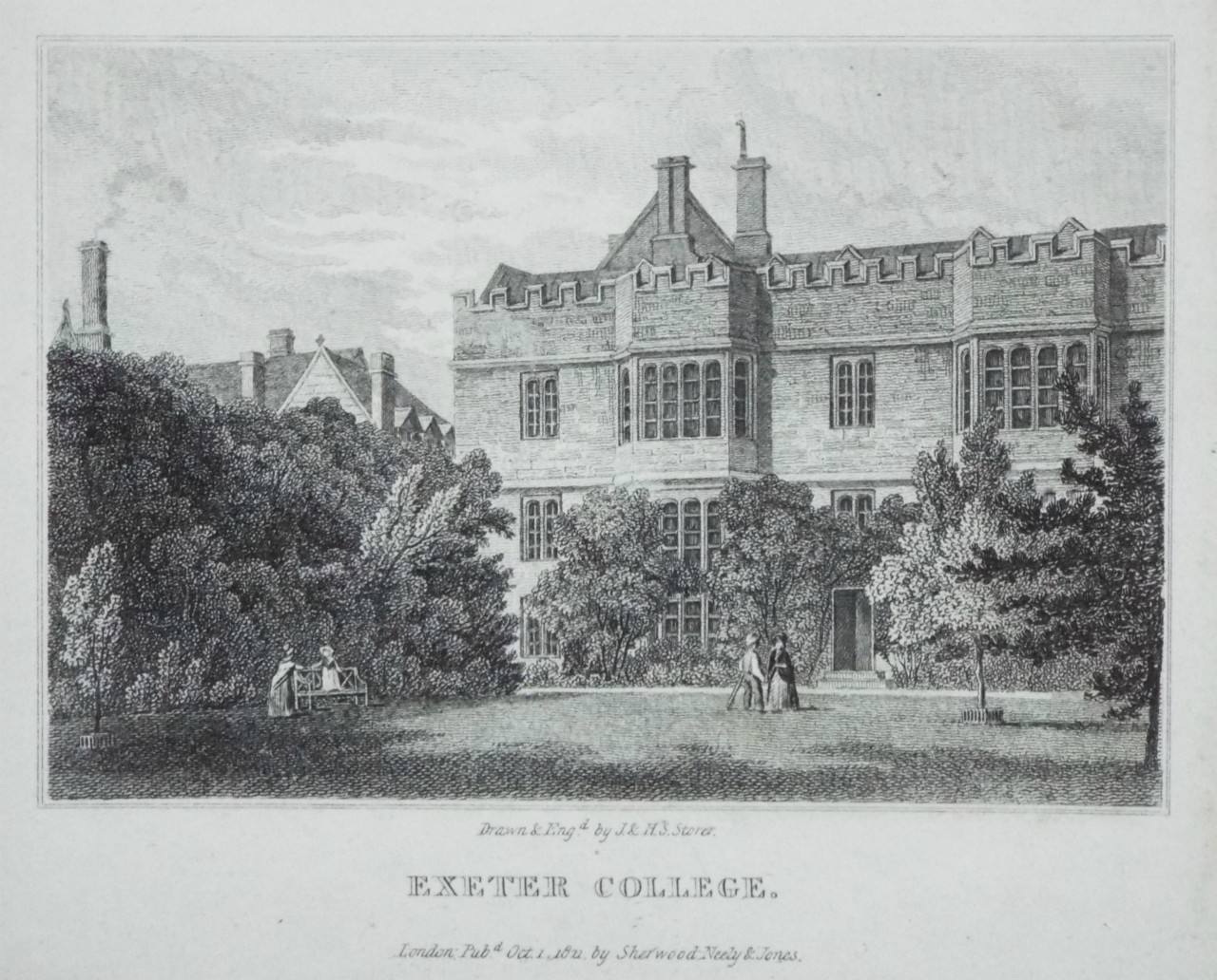 Print - Exeter College. - Storer