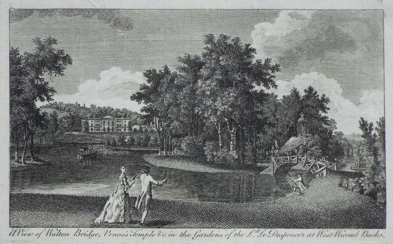 Print - A View of Walton Bridge, Venus's Temple &c in the Garden of the Ld. Despencer at West Wycomb Bucks.