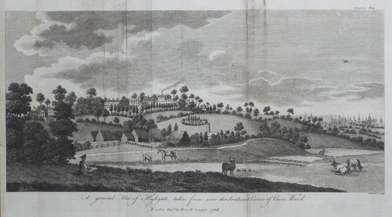 Print - A General View of Highgate taken from the South-east corner of Caen Wood -