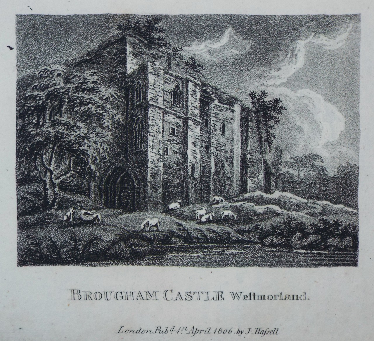 Aquatint - Brougham Castle. - Hassell