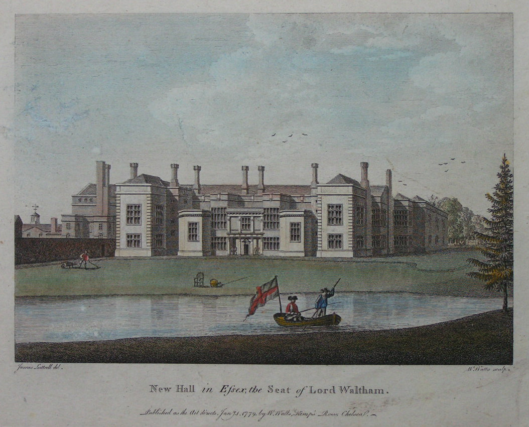 Print - New Hall in Essex, the Seat of Lord Waltham - Watts