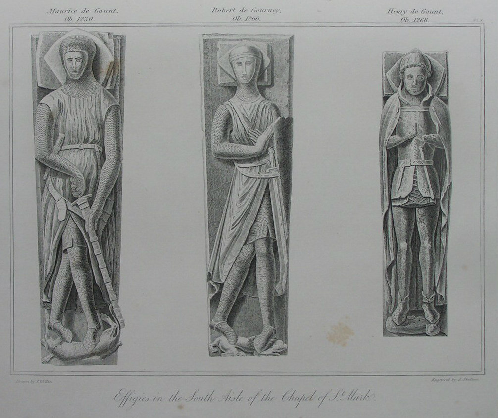 Etching - Effigies in the South Aisle of the Chapel of St. Mark. - Skelton