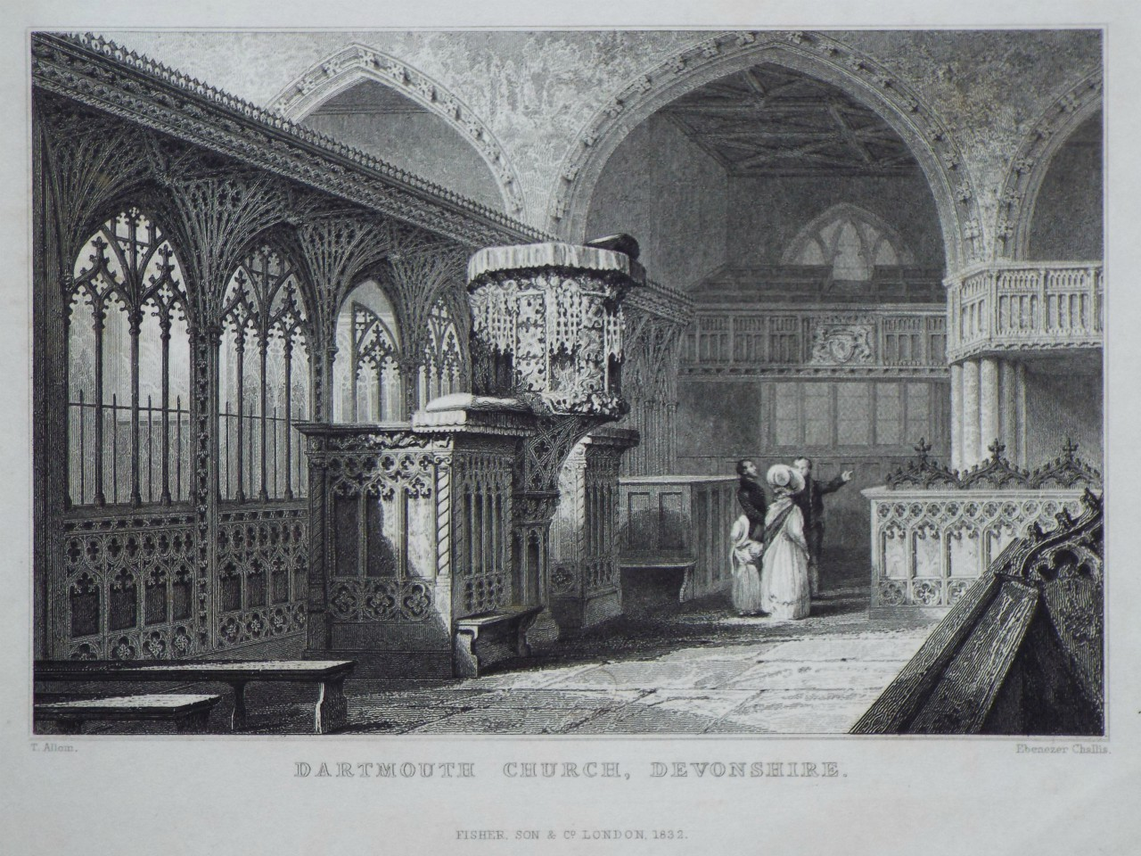 Print - Dartmouth Church, Devonshire. - Challis