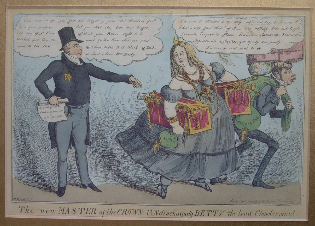 Photo-lithograph - The new Master of the Crown Inn discharging Betty the head Chambermaid (Repro) - Heath