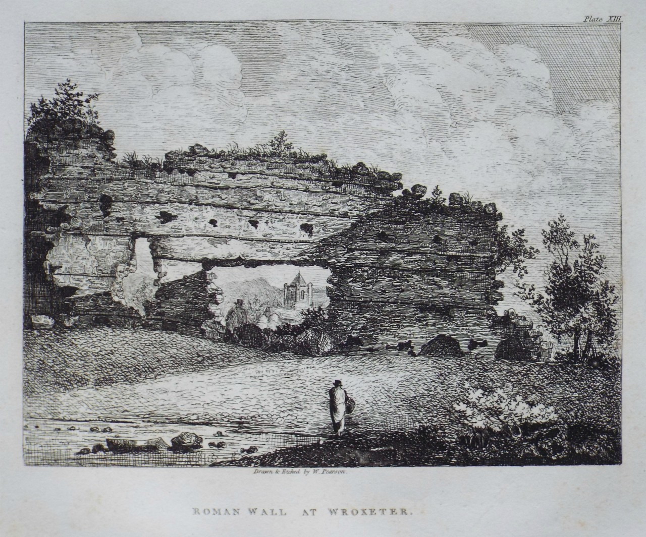 Etching - Roman Wall at Wroxeter. - Pearson