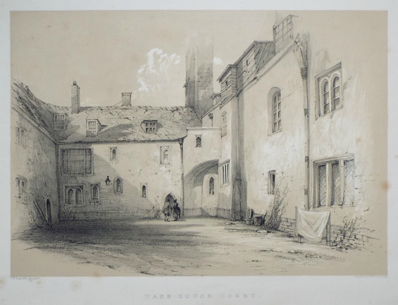 Lithograph - Wash-House Court. - Radclyffe