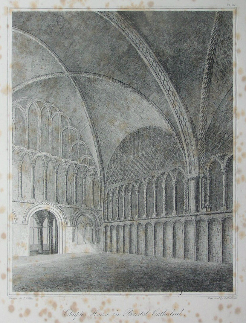 Etching - Chapter House in Bristol Cathedral. - Skelton