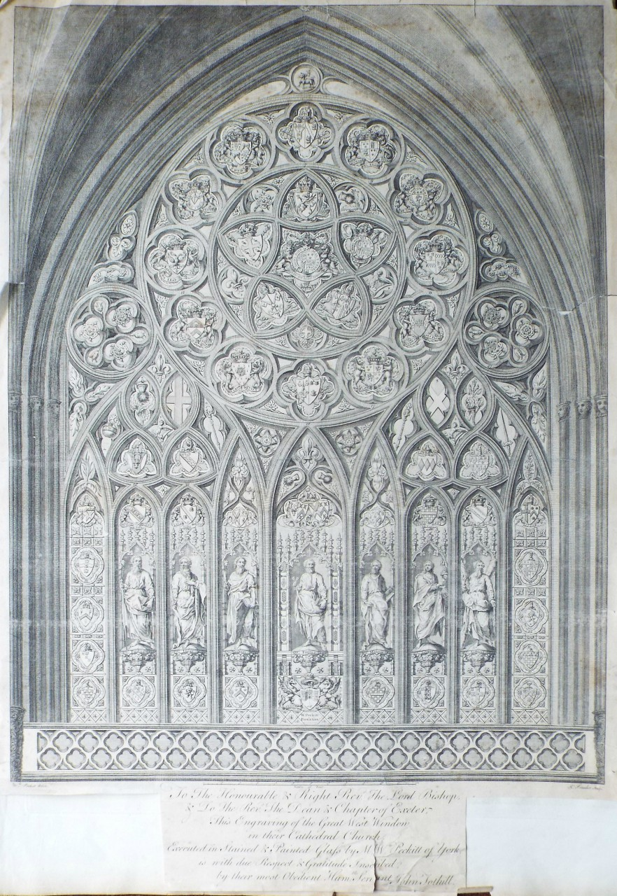 Print - To the Honourable & Right Revd. The Lord Bishop & to the Revd. the Dean  & Chapter of Exeter, this Engraving of the Great West Window in their Cathedral Church, Executed in Staided Glass by M. W. Peckitt of York, is with due Respect & Gratitude Inscribed by their most obedt. humble servant John Tothill. - Pranker