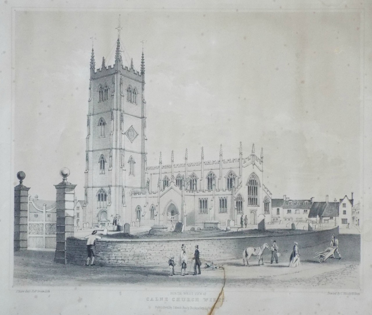 Lithograph - North West View of Calne Church Wilts. - Groom