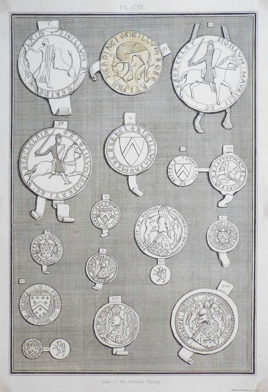 Etching - Seals of the Berkeley Family.