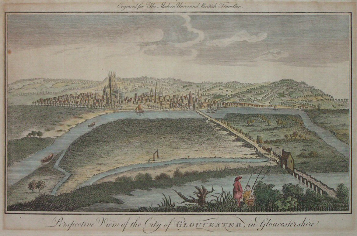 Print - Perspective View of the City of Gloucester, in Gloucestershire