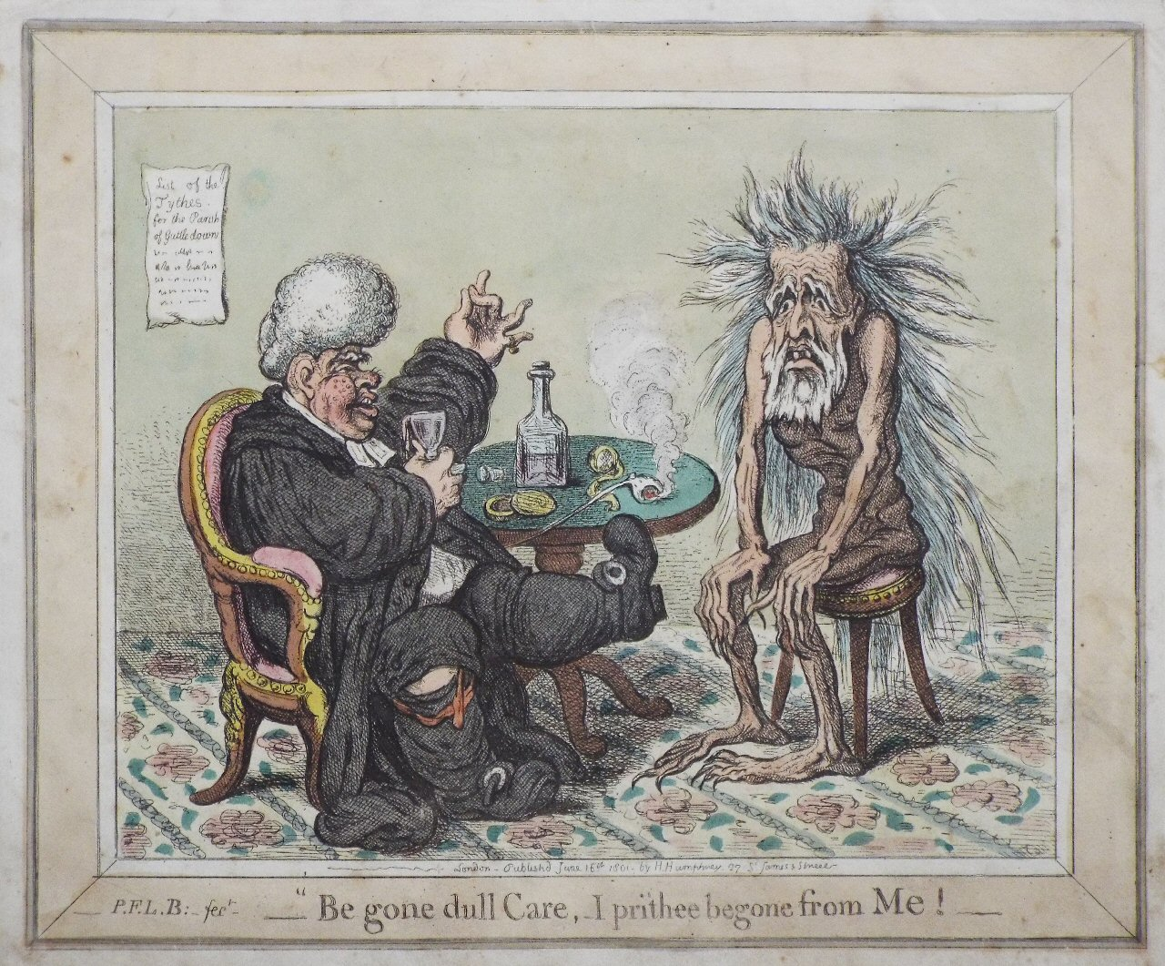Etching - Be gone dull Care, I prithee begone from Me ! - Gillray