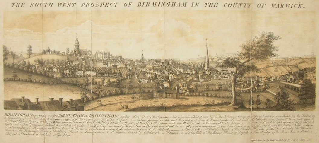 Lithograph - The South West Prospect of Birmingham