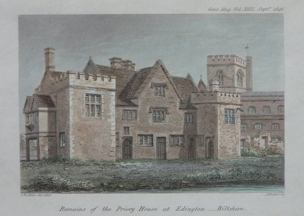 Print - Remains of the Priory House at Edington - Wiltshire. - Basire