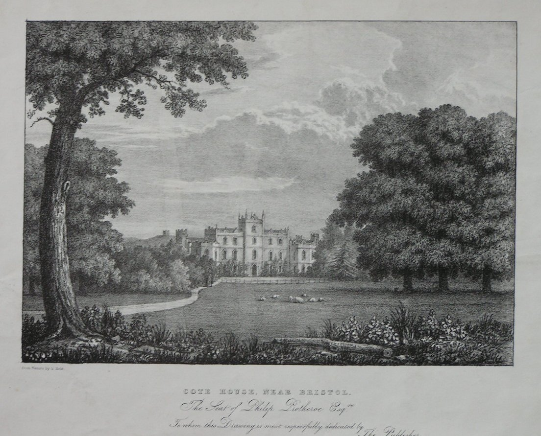 Lithograph - Cote House, Near Bristol. The Seat of Philip Prothroe Esqr.