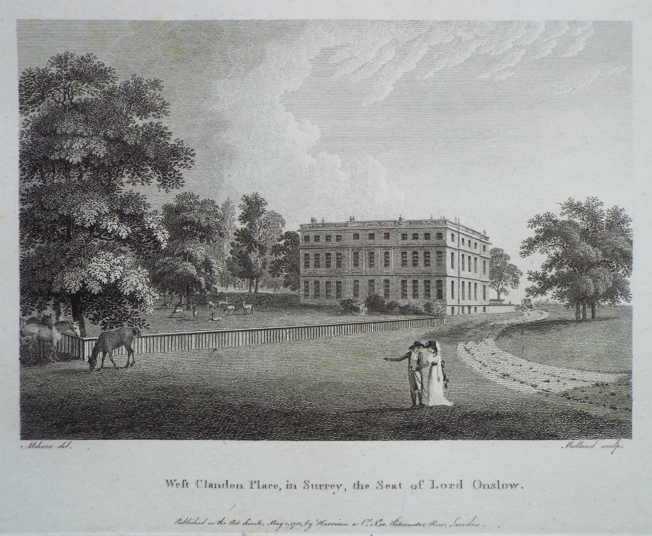 Print - West Clandon Place, in Surrey, the Seat of Lord Onslow. -