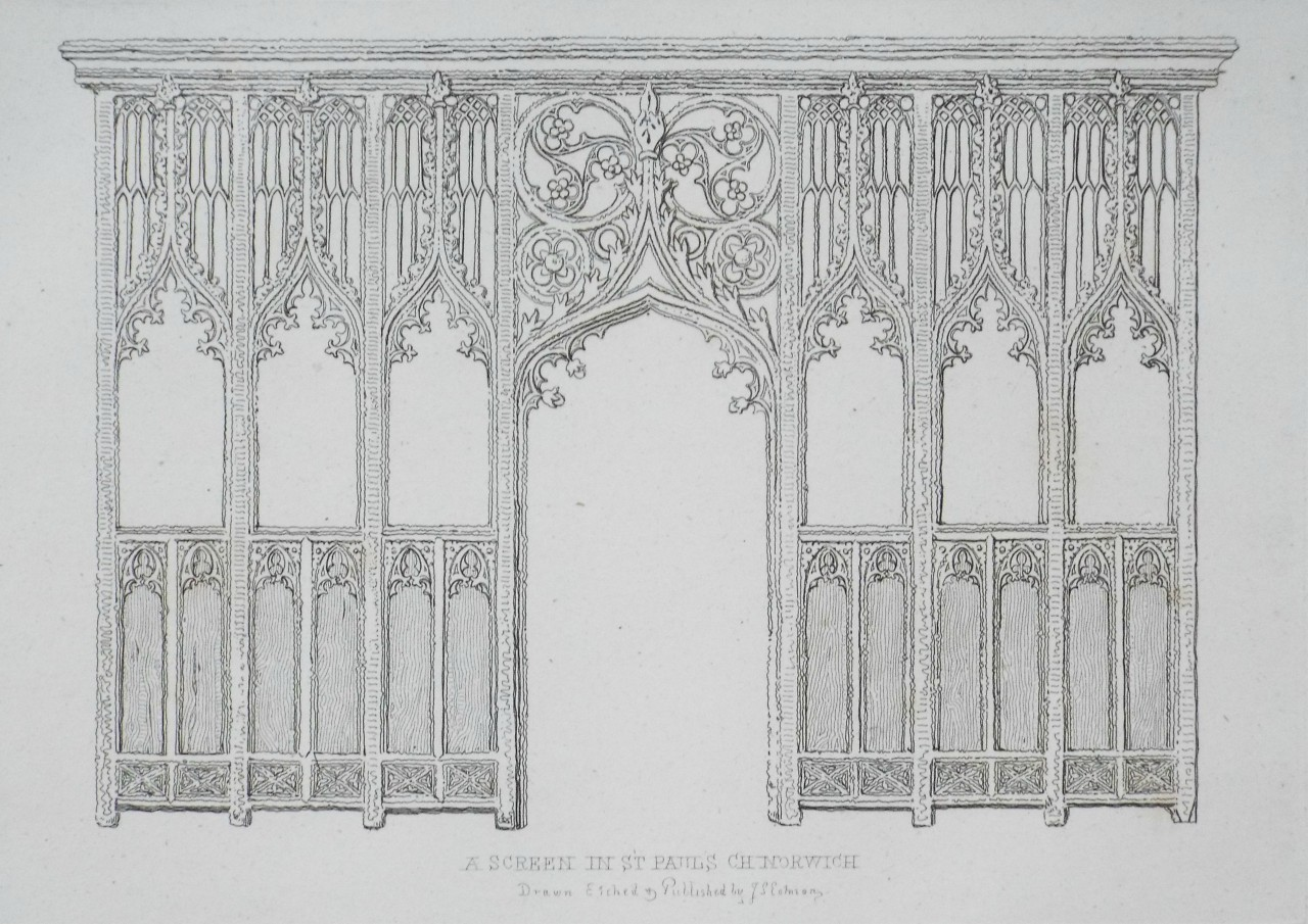 Etching - A Screen in St Pauls Ch Norwich - Cotman