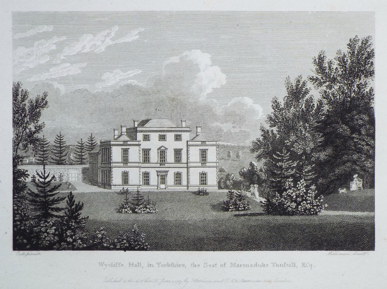 Print - Wycliffe Hall, in Yorkshire, the Seat of Marmaduke Tunstall, Esq. -