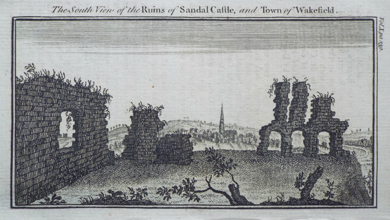 Print - The South View of the Ruins of Sandal Castle, and Town of Wakefield.