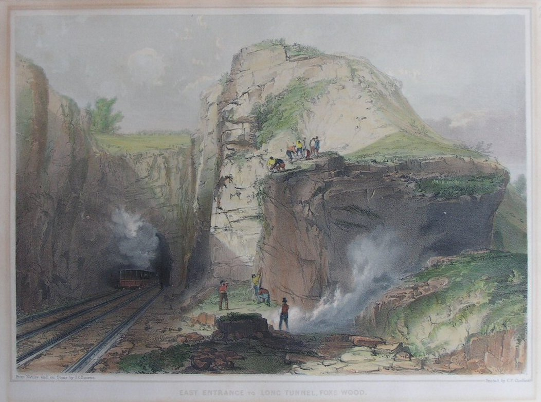 Lithograph - East Entrance to Long Tunnel, Fox's Wood - Bourne