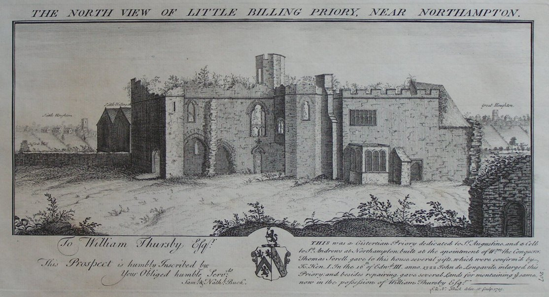 Print - The North View of Little Billing Priory Near Northampton - Buck