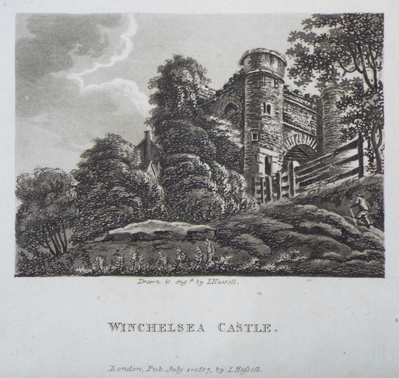 Aquatint - Winchelsea Castle. - Hassell