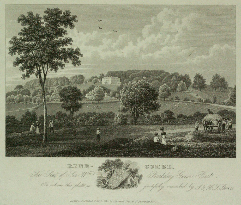 Print - Rend-combe. The Seat of Sir Wm Berkeley Guise Bart. - Storer