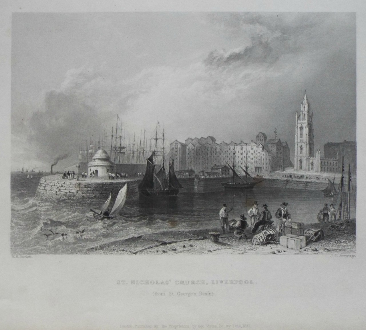 Print - St. Nicholas' Church, Liverpool. (from St. George's Basin) - Armytage