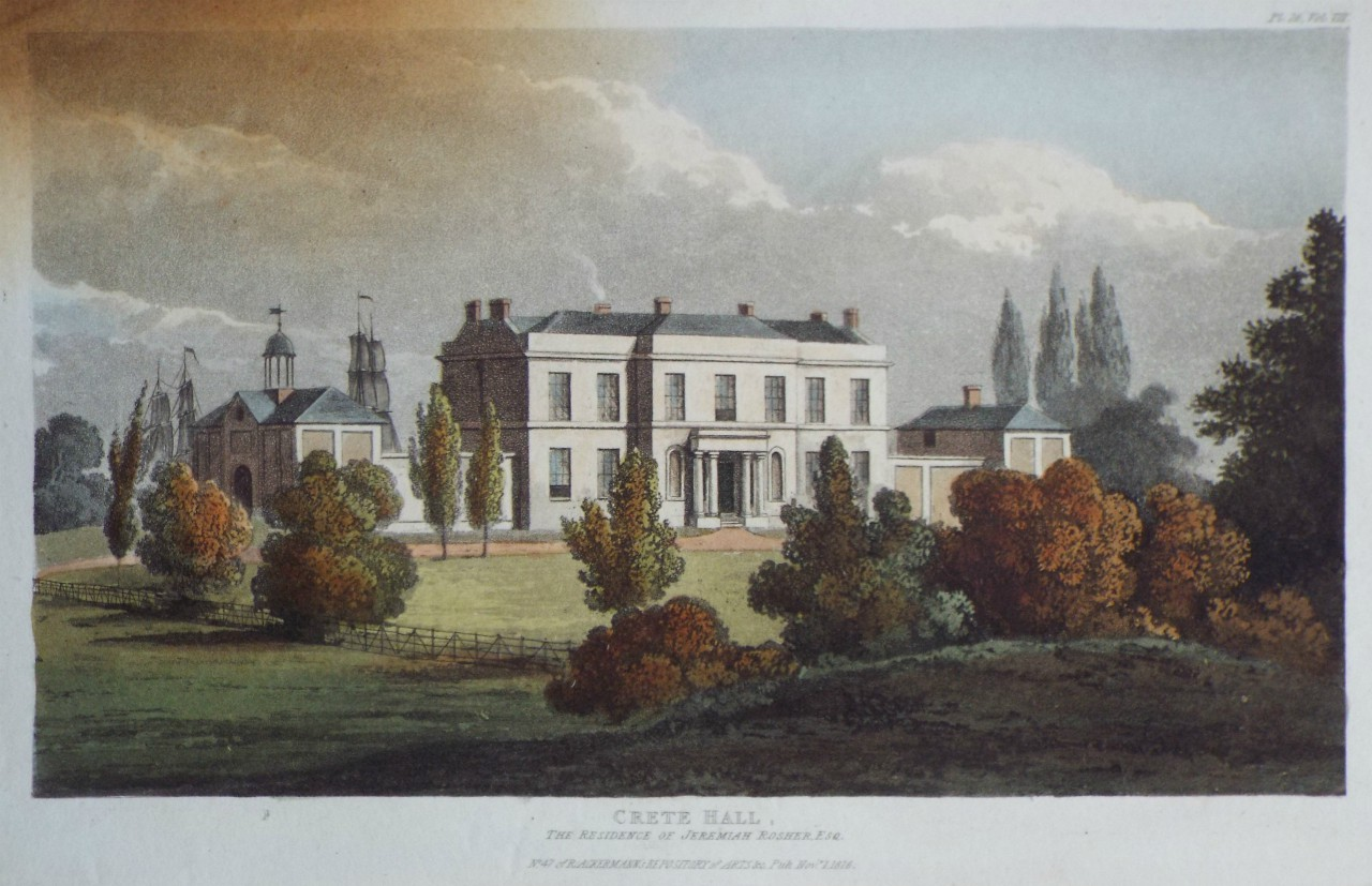 Aquatint - Crete Hall, the Residence of Jeremiah Rosher Esq.