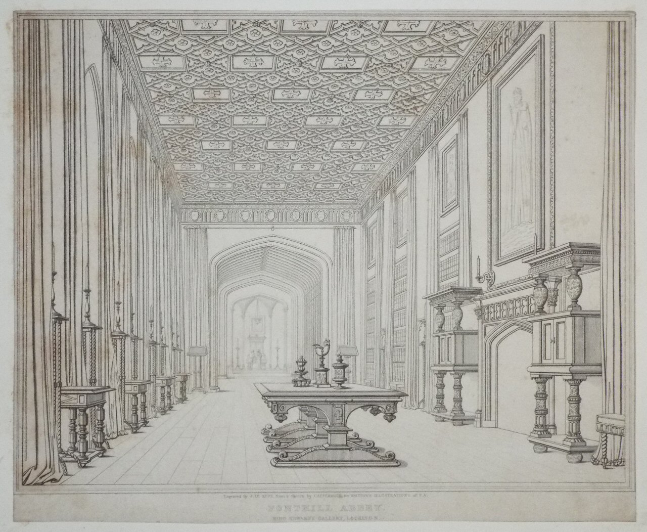 Print - Pl.08. Fonthill Abey, King Edward's Gallery, Looking N. - Le