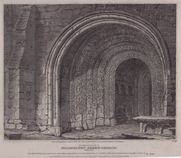Print - Southern Porch to Malmsbury Abbey-Church, Wiltshire - Roffe