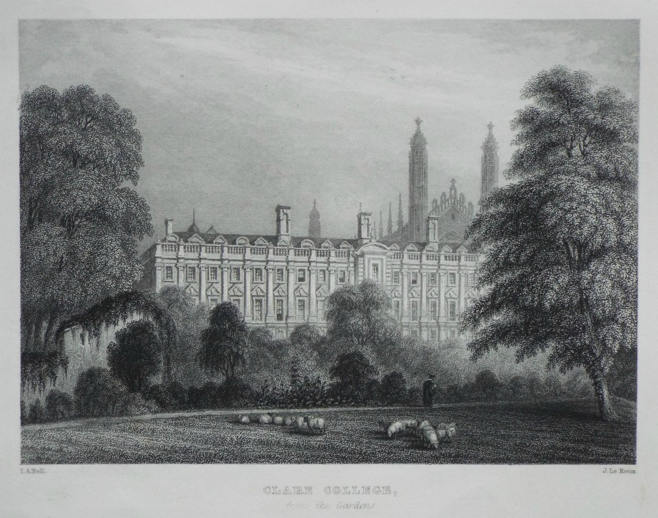 Print - Clare College, from the Gardens. - Le