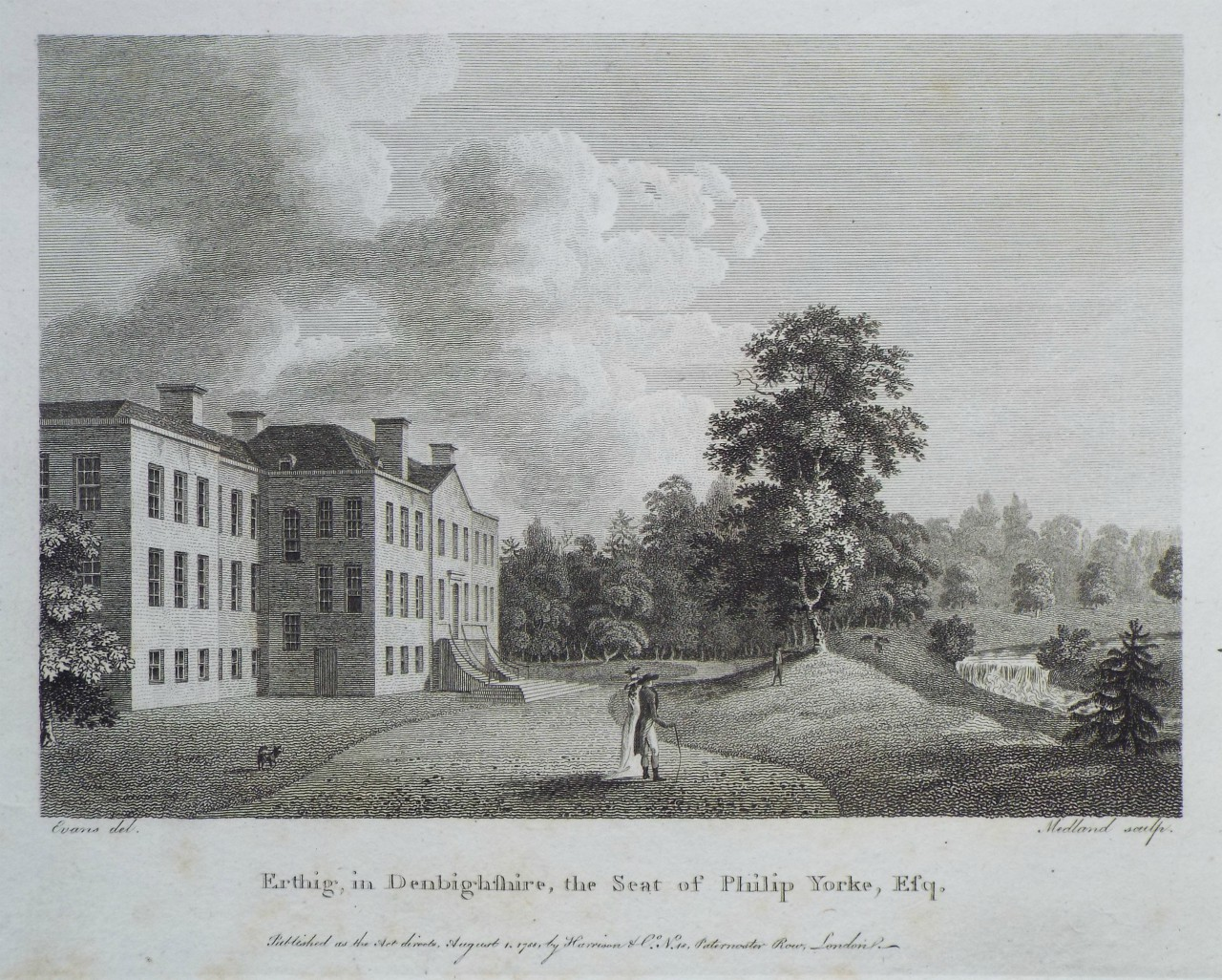 Print - Erthig, in Denbighshire, the Seat of Philip Yorke, Esq. -
