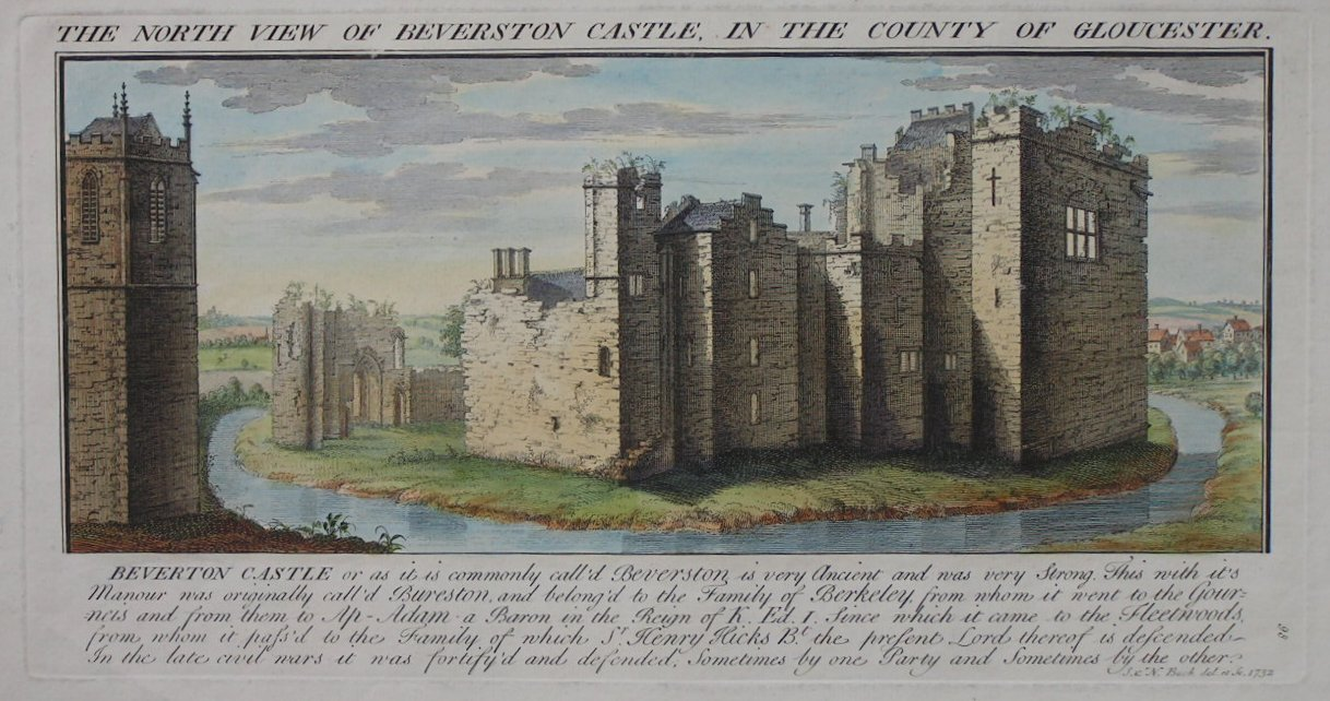 Print - The North View of Beverston Castle, in the County of Gloucester. - Buck