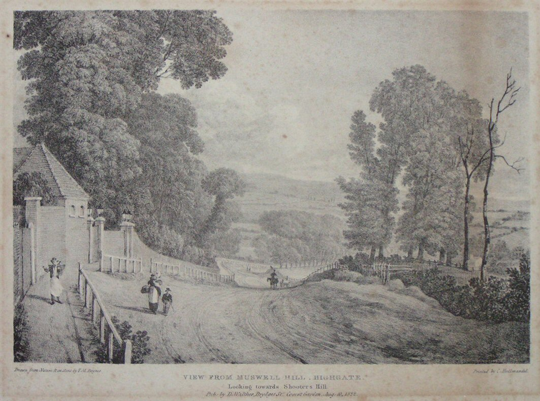 Lithograph - View from Muswell Hill, Highgate. Looking towards Shooters Hill. - Hullmandel