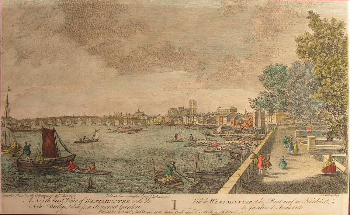 Antique Print A North East View Of Westminster With The