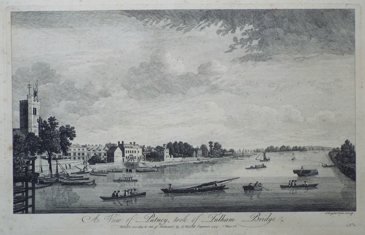 Print - A View of Putney, took from Fulham Bridge. - Boydell