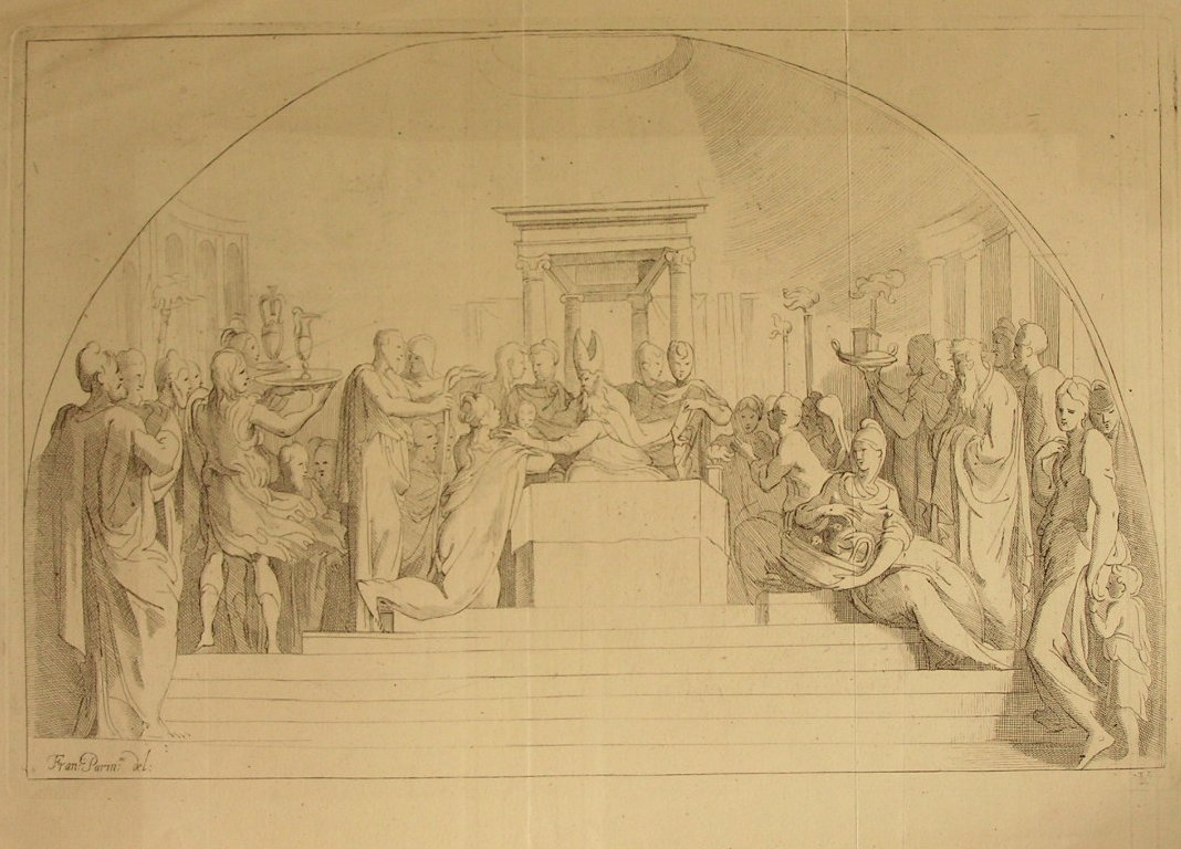 Etching - (Pope? on raised throne with numerous figures in attendance)