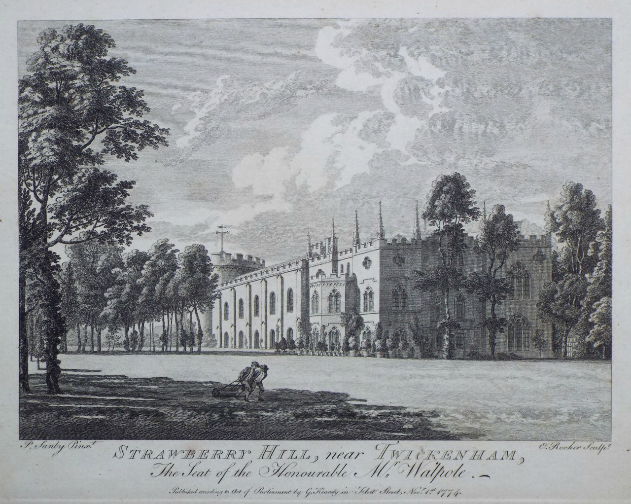 Print - Strawberry Hill, near Twickenham, The Seat of the Honourable Mr. Walpole. - Rooker