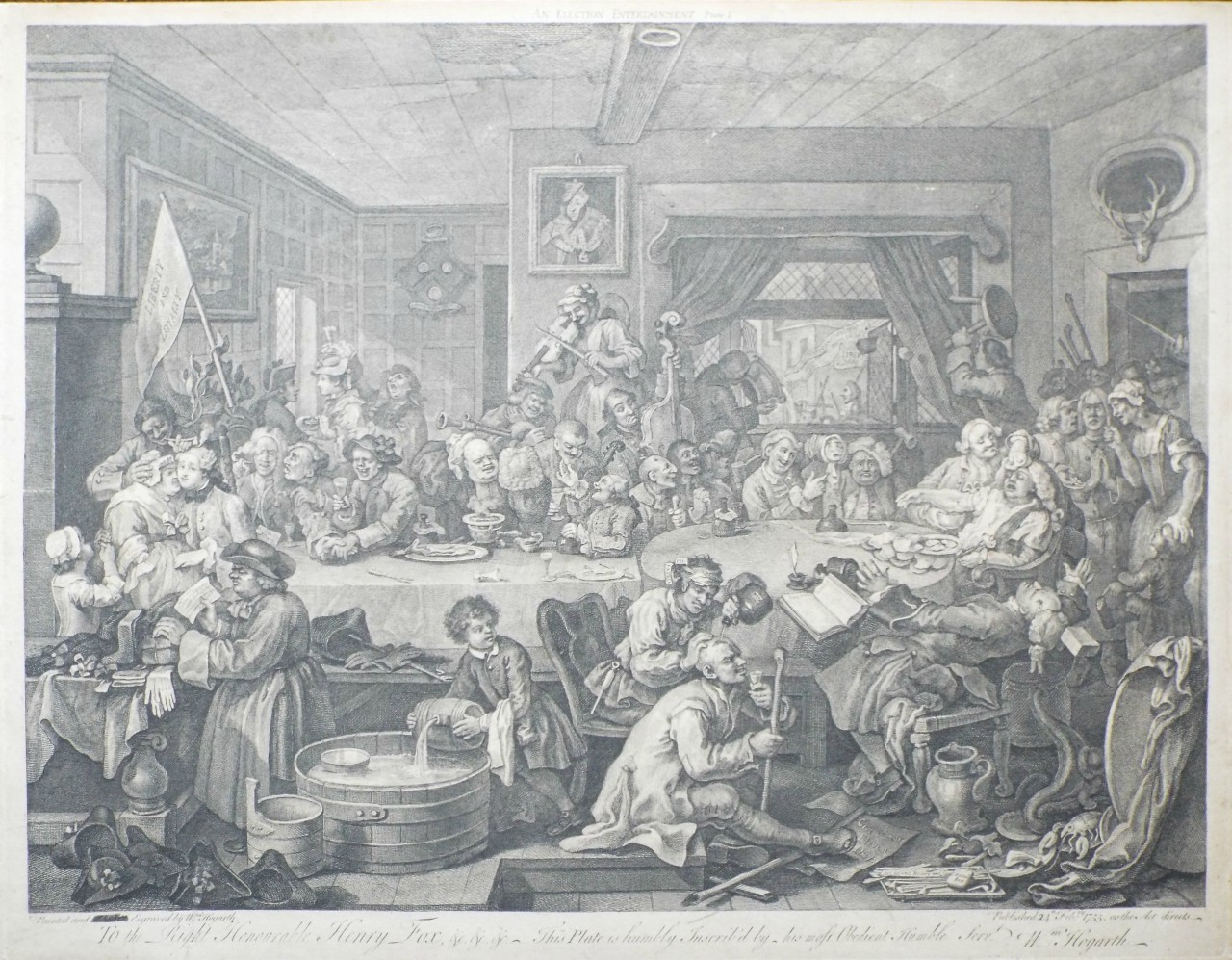 Print - An Election Entertainment Plate I - Hogarth