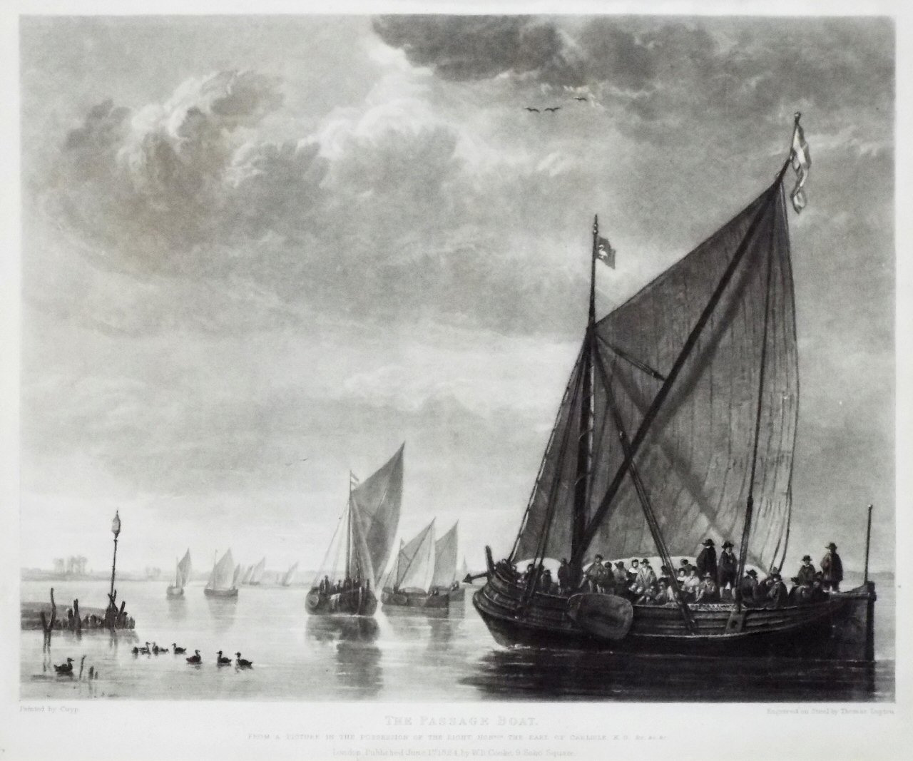 Mezzotint on steel - The Passage Boat - Lupton