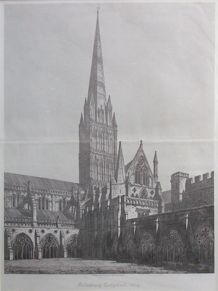 Print - Salisbury Cathedral, 1819 - Coney