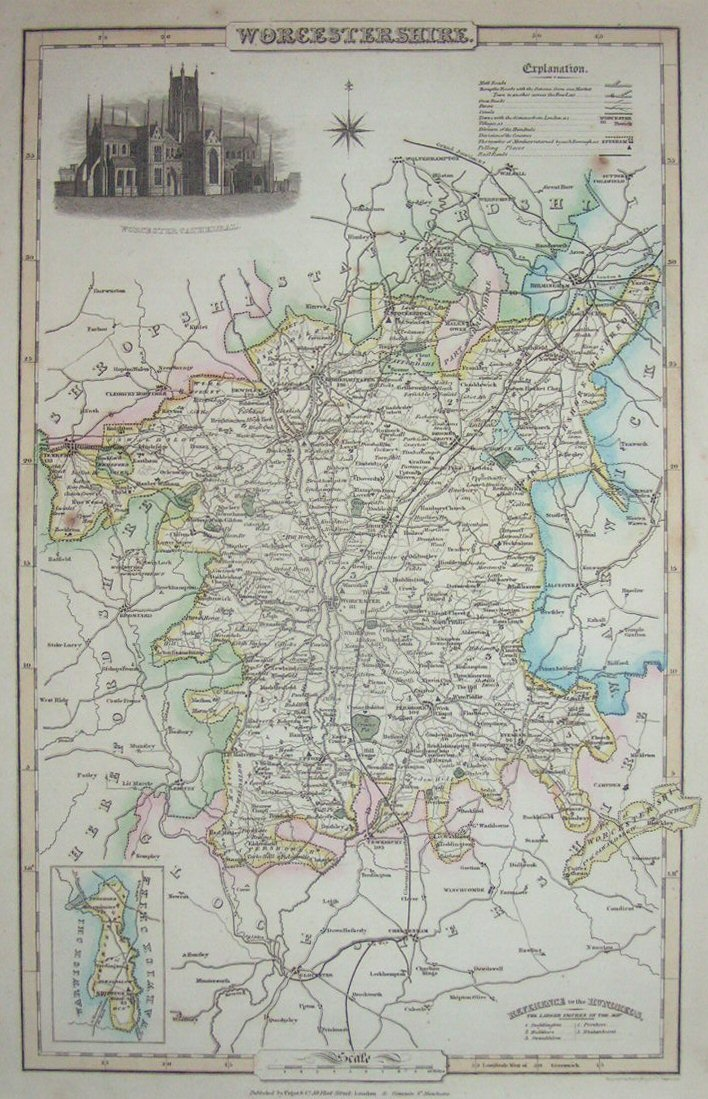 Map of Worcestershire - Pigot