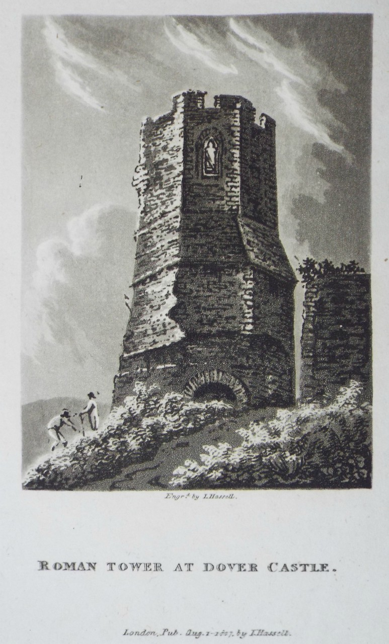 Aquatint - Roman Tower at Dover Castle. - Hassell