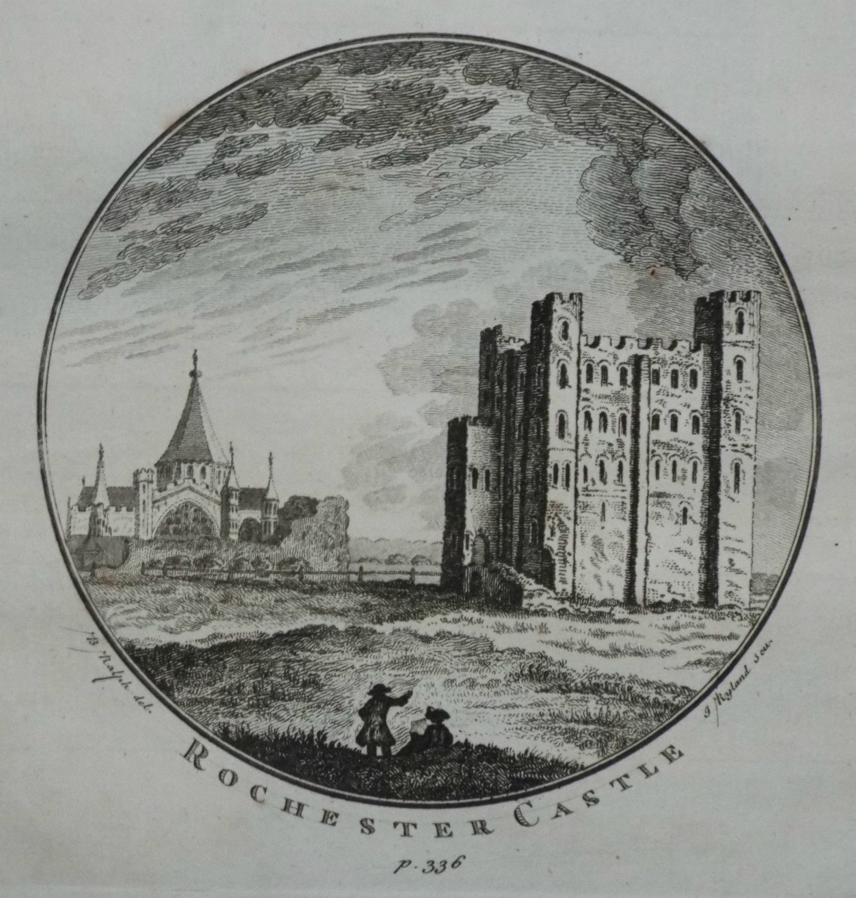 Print - Rochester Castle p.338. - Ryland