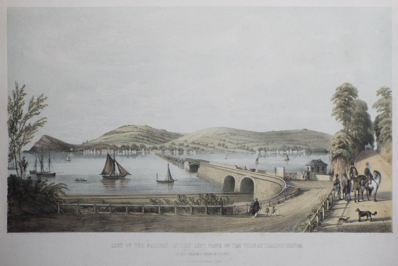 Lithograph - Line of the Railway, up the Left Bank of the Teign at Shaldon Bridge - Spreat